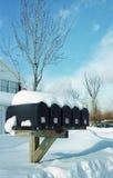 Cadres de courrier dans la neige Photo libre de droits