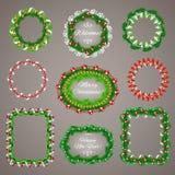 Cadres de guirlandes de Noël avec un ensemble de l'espace de copie Photos libres de droits