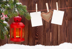 Cadres de lanterne et de photo de bougie de Noël Images stock