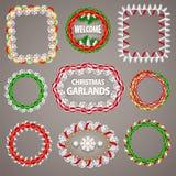 Cadres de papier de guirlandes de Noël avec un espace de copie Image stock