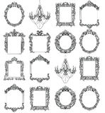 Cadres de Rich Imperial Baroque Rococo réglés Ornements découpés par luxe français Style exquis victorien de vecteur décoré Photographie stock