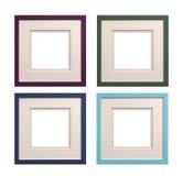 Cadres de tableau carrés mauve, vert, bleu, cyan avec l'insertion de carte, Photos libres de droits