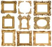 Cadres de tableau d'or objets baroques d'antiquité de style images stock