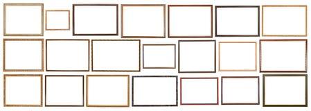 Cadres de tableau en bois étroits de vintage d'isolement Photographie stock
