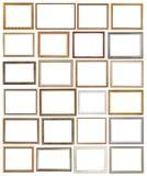 Cadres de tableau en bois de divers vintage d'isolement Photos libres de droits