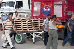 Cadres de transport d'ouvriers de pêches Photographie stock libre de droits