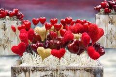 Cadres de Valentine de cru avec des coeurs Photos stock