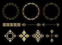 Cadres de vecteur d'or et éléments de cru illustration stock