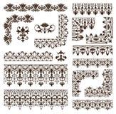 Cadres de vintage, coins, frontières avec des remous sensibles en Art Nouveau pour la décoration et travaux de conception avec le Image libre de droits