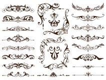 Cadres de vintage, coins, frontières avec des remous sensibles en décoration d'Art Nouveau et travaux de conception avec le style illustration stock