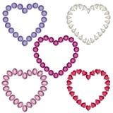 Cadres en forme de coeur de pierre gemme Images libres de droits