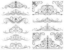 Cadres et éléments calligraphiques de rouleau Image stock
