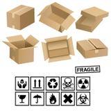 Cadres et signes de cargaison de carton Photographie stock libre de droits