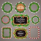 Cadres et tableau noir de guirlandes de Noël avec a Image libre de droits
