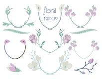 Cadres floraux colorés des textes de vecteur, branches, lauriers illustration libre de droits
