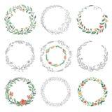Cadres floraux de griffonnage de cercle Frontières rondes linéaires tirées par la main, éléments de conception de cru de fleurist illustration stock