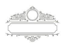 Cadres floraux de vecteur dans la ligne style mono avec l'espace de copie pour le texte - calibre de conception de logo illustration de vecteur
