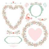 Cadres floraux et éléments graphiques Images stock