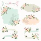 Cadres floraux et bannières de Pâques réglés Photos stock