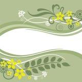 Cadres floraux verts et jaunes illustration stock