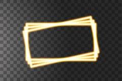 Cadres men?s jaunes brillants de rectangle de vecteur, illumination au n?on sur le fond transparent Rectangle d?coratif rougeoyan illustration de vecteur
