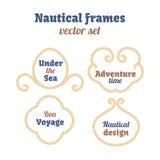 Cadres nautiques réglés Remous de cordes Noeuds décoratifs de vecteur Éléments ornementaux de décor avec la corde Image libre de droits