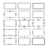 Cadres noirs de rectangle et icônes d'emblème de frontières réglées illustration libre de droits