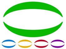 Cadres ovales - frontières dans cinq couleurs Éléments colorés de conception Photographie stock