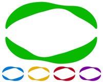 Cadres ovales - frontières dans cinq couleurs Éléments colorés de conception Images stock