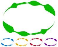 Cadres ovales - frontières dans cinq couleurs Éléments colorés de conception Photo stock