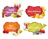Cadres plats et lables de vecteur de Rosh Hashanah, de Shana Tova ou de bande dessinée juive de nouvelle année réglés Vecteur pla illustration de vecteur