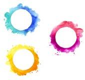 Cadres ronds d'aquarelle Images libres de droits