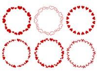 Cadres rouges décoratifs de coeurs de cercle Photos libres de droits