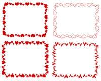 Cadres rouges décoratifs de coeurs de rectangle Photos stock