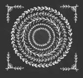 Cadres tirés par la main floraux de vintage circulaire illustration de vecteur