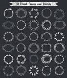Cadres tirés par la main floraux de vintage circulaire illustration stock