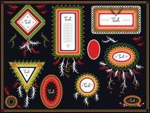 Cadres tribals ethniques de vecteur avec des plumes Image libre de droits
