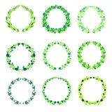 Cadres verts ronds de vintage avec des feuilles Image stock