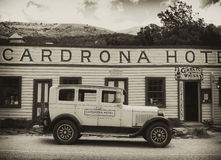 Cadrona Hotel, old car, New Zealand Stock Photo