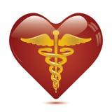 Caducée dans le symbole médical de coeur. Image stock