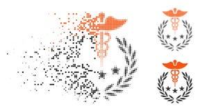 Caducée tramé dissous Logo Icon de Pixelated illustration stock