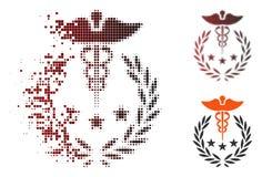 Caducée tramé Logo Icon de pixel de la poussière illustration libre de droits