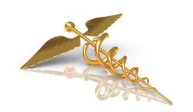 Caduceo en oro - símbolo griego de Hermes - perno con la serpiente Imágenes de archivo libres de regalías