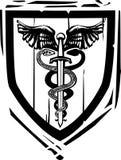 Caduceo heráldico de la espada del escudo Imagen de archivo libre de regalías