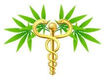 Caduceo médico de la marijuana del cáñamo stock de ilustración