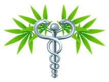 Caduceo médico del cáñamo de la marijuana libre illustration