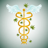 Caduceo medico della marijuana Fotografie Stock Libere da Diritti