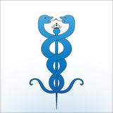 Caduceus. Medical caduceus - two snakes with pole and crown on circle Royalty Free Stock Photos