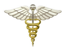 Caduceus. Gold and Silver Caduceus Medical Symbol isolated on a white background vector illustration