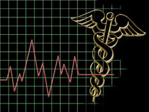 Caduceus. And heart beat stock illustration